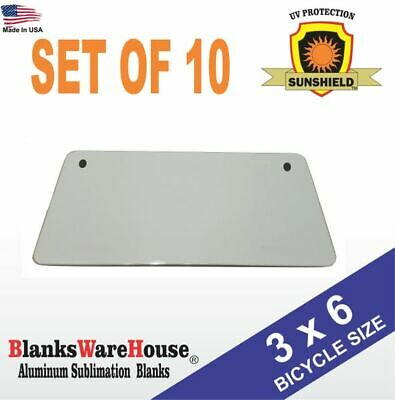 "10 Pieces ALUMINUM LICENSE PLATE SUBLIMATION BLANKS 4/""x 7/"" MOTORCYCLE TAG"