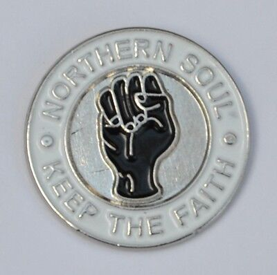 White Northern Soul Keep The Faith Lapel Pin Badge