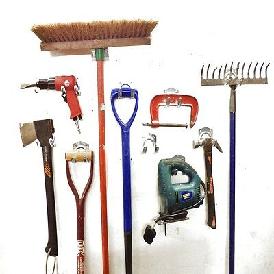 Workshop Tools Storage Hooks Garden Farm Shed Garage Wall Double Metal Equipment