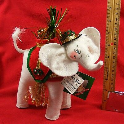 "Annalee Elegant Elephant 2008 7"" Collectible Christmas Holiday Doll Fabric White"