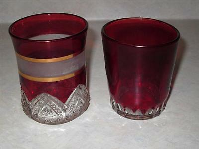 LOT OF 2 ANTIQUE RUBY RED FLASH TUMBLERS