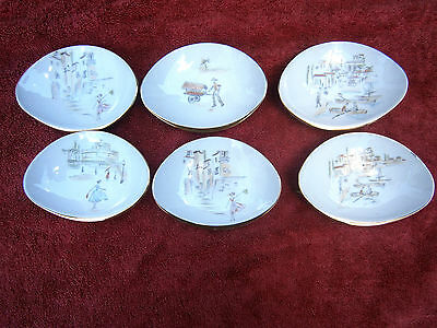 Antique Criedlitz  Bavaria   Hand Painted Set  6  Small  Oval  Plates