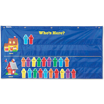 Learning Resources - Who's Here? Nylon School Attendance Pocket Classroom Chart