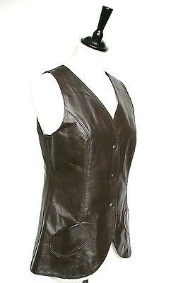 Vintage brown leather waistcoat -1970s / 1960s  - UK 10