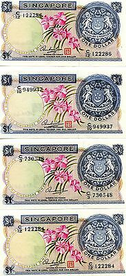 (1967-73) 4 Pcs. Singapore $1 Nice Notes. Check out the Photos.