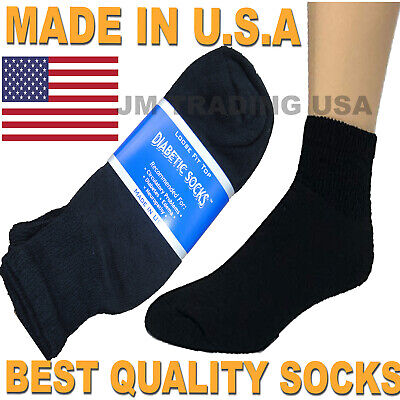 BEST QUALITY 18 pairs of Men's Black Diabetic Ankle Socks 10-13 size MADE IN USA