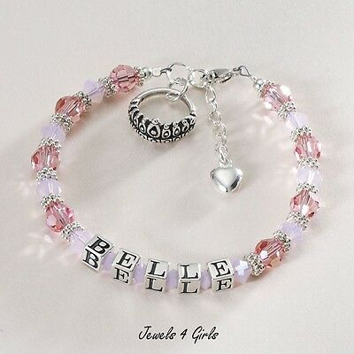 Girls Bracelet with Name - Sterling Silver - Luxury Quality - Perfect Princess
