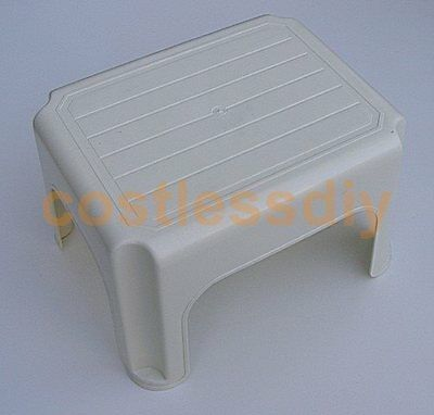 Whitefurze Strong Large Plastic Childrens Kids Stool Kitchen Step Up Cream