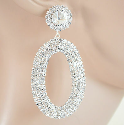 ORECCHINI donna argento cristalli strass ovali pendientes earrings ohrringe H19