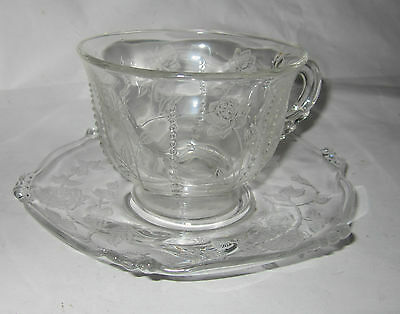 Heisey Rose Etch Cup and Saucer Waverly Blank