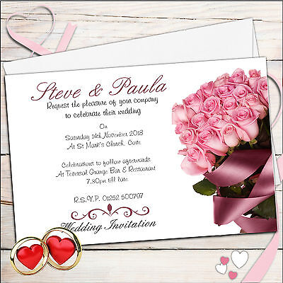 50 Personalised Pink Rose Wedding Invitations Invites Day or Evening N36