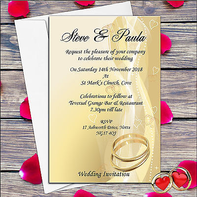 50 Personalised Gold Rings Wedding Invitations Invites Day or Evening N22