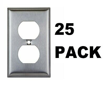 25PK Stainless Steel Outlet Cover Single Duplex Receptacle Wall Plate Face Plate