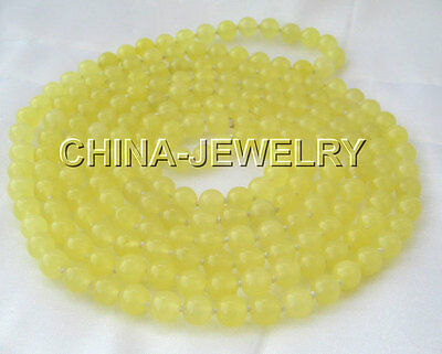 """Beautiful 80"""" 10mm Natural round yellow jade necklace"""