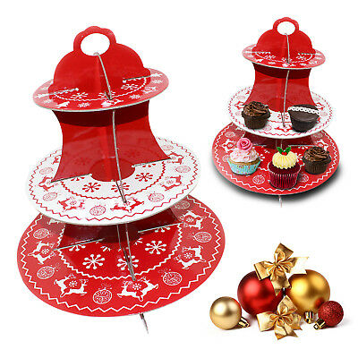 Christmas Holiday 3 Tier Cup Cake Fairy Muffin Cupcake Party Decorating Stand