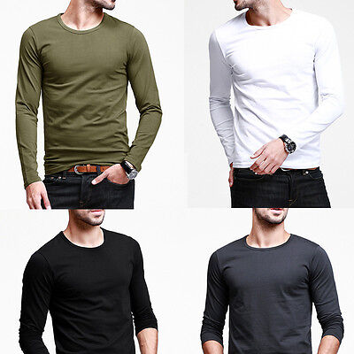 NEW Mens Basic Tee Long Sleeve T Shirt Top Crew Neck High Stretch Fitted 4 Color