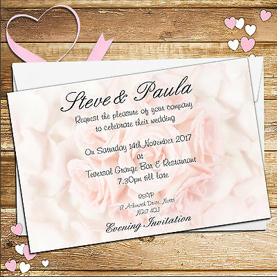 10 Personalised Pink Roses Wedding Invitations Invites Day or Evening N12
