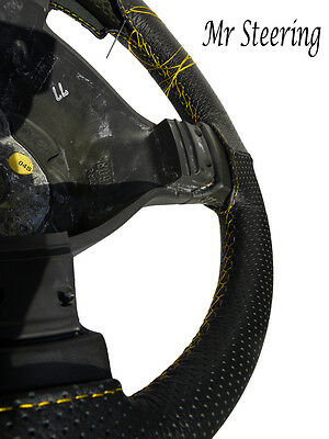 Fits Mercedes Sprinter Mk2 Perforated Leather Steering Wheel Cover Yellow Stitch