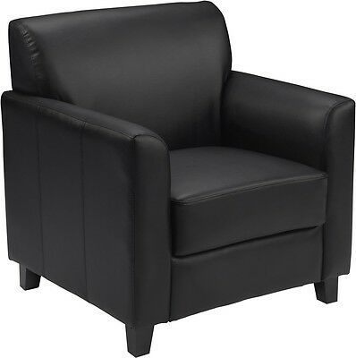 Diplomat Series Black Leather Reception Area Side Chair - Guest Lounge Chair