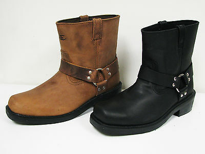 """Men's Harness Boots Motorcycle Biker 6"""" Leather Riding, Black, Brown Sizes:6-13"""