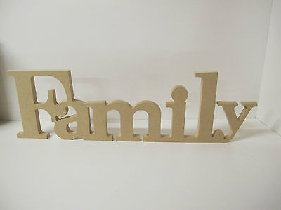 """WOODEN  LETTERS """"Family"""" in Roman Font. QUALITY.120mm high Freestanding"""