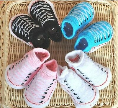 Baby Boy / Girl Canvas Trainer Shoe Socks 0-3-6 Months Gift Bootie All Star