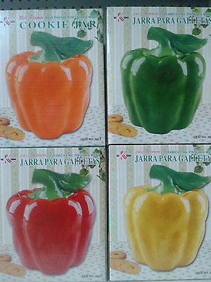 Bell Pepper Ceramic Cookie  Canister Jar  Kitchen Green