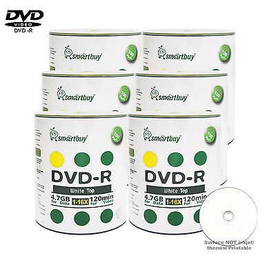 600 Pcs Smartbuy Blank DVD-R DVDR 16X 4.7GB White Top Storage Recordable Disc