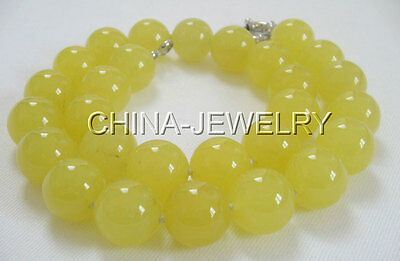 """Beautiful 17"""" 14mm Natural round yellow jade necklace"""