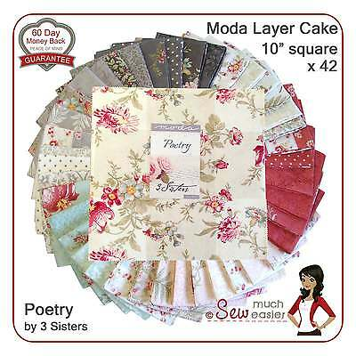 Moda Layer Cake Poetry 3 Sisters Fabric floral shabby-chic vintage Paris French