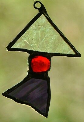 CRYSTAL, RED & PURPLE ABSTRACT CHRISTMAS TREE SUNCATCHER SILVER FINISH Hand Made