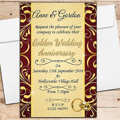 10 Personalised 50th Golden Wedding Anniversary Invitations Invites N5