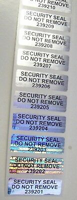 "100 SVAG Security Seals Tamper Evident Stickers .5"" x 1.5"" SS Do Not Remove #'d"