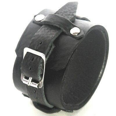 black Leather Cuff Wristband Bracelet will fit small to large Handmade in the UK