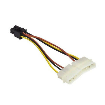 2x 4 Pin Molex to 6 Pin PCI-Express Power Cable for Video Card