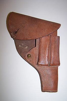 Swedish 1907 Brown Leather Holster With Crown and T-4 Cartouches--Nice