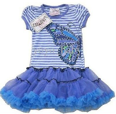 Girls Dress Blue Tutu Party Pretty Short Sleeved Butterfly Sparkle