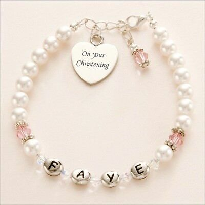 Girls Child's Name Bracelet with Birthstones and Engraving! Christening Gift etc