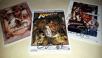 """Indiana Jones Set Of 3 Cast Pp Signed 12""""x8"""" Posters Harrison Ford"""