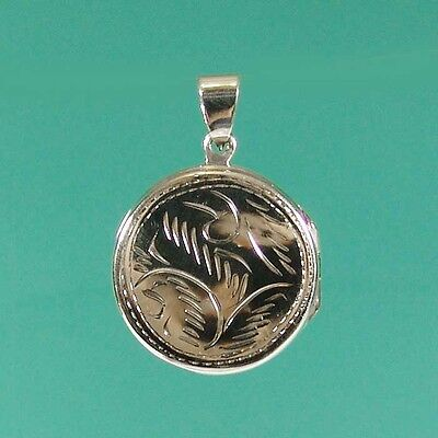 Vintage Inspired Solid Sterling Silver Round Photo Locket Keepsake for 2 Photos