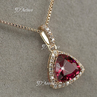 18K Rose Gold Gf Made With Swarovski Crystal Love Heart Pendant Necklace