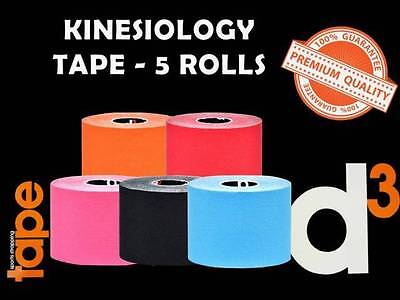 Kinesiology Sports Strapping Tape D3 Physiotherapy - 5 Rolls  (Size: 50Mm X 6M)