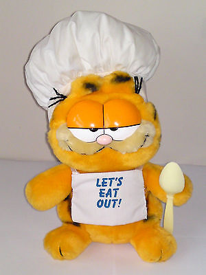 """GARFIELD SOFT TOY,VINTAGE GARFIELD,11"""" 28cm,CHEF,COOK,LETS EAT OUT,1981,80S TOYS"""