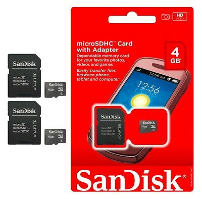 Lot of 2 SanDisk 4GB 4 GB Micro SD SDHC TF Flash Memory Card New Retail Package