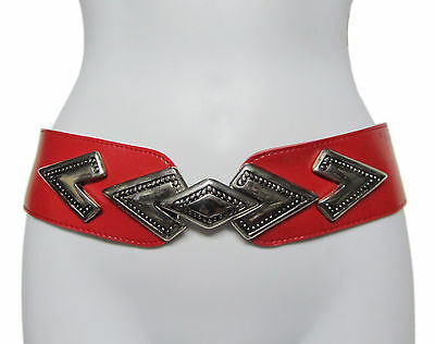 VINTAGE 80's Red Faux Leather Boho Deco Silver Wonder Buckle Adjustable Belt OS