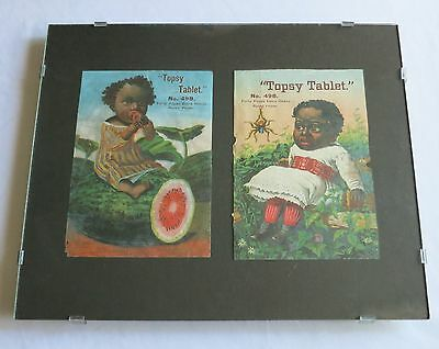 Fabulous Framed Late 1800's TOPSY TABLET RULED PAPER Black Americana Covers