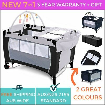 NEW SAFE 7 In 1 BABY PORTABLE TRAVEL COT BASSINET PLAYPEN PORTACOT CHANGE TABLE
