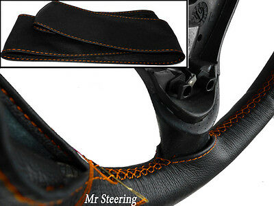Real Black Leather Steering Wheel Cover For Vauxhall Movano Mk2 Orange Stitching