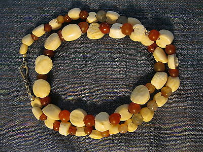 "Tairona Culture Shell Carnelian Bead Necklace Pre-Columbian OLD RARE 24"" silver"