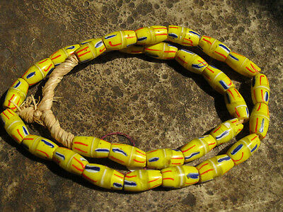 30 African Trade Beads Old Venetian Glass yellow red blue white strand RARE 20""